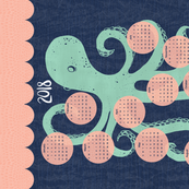 2018 Octopus Calendar Tea Towel