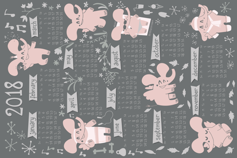 """When elephants fly"" new year resolutions 2018 calendar  fabric by natalia_gonzalez on Spoonflower - custom fabric"