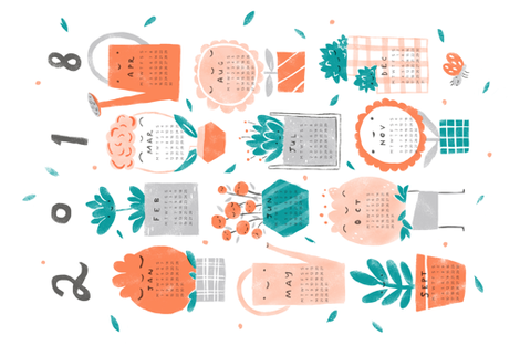 Happy Plants 2018 Calendar fabric by trxy on Spoonflower - custom fabric