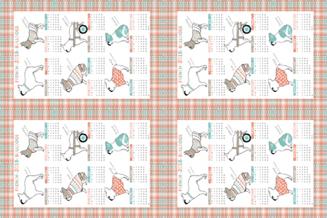 2018 calendar french bulldog fabric by hitomikimura on spoonflower custom fabric