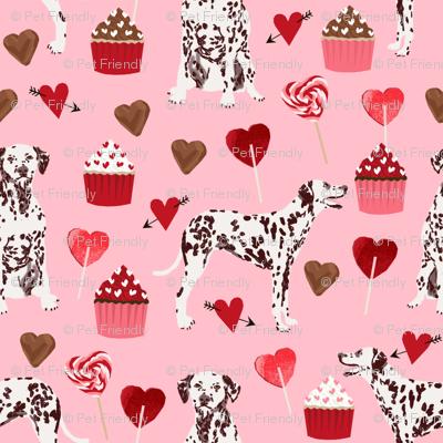 dalmatian - liver spotted dalmatian fabric valentines design
