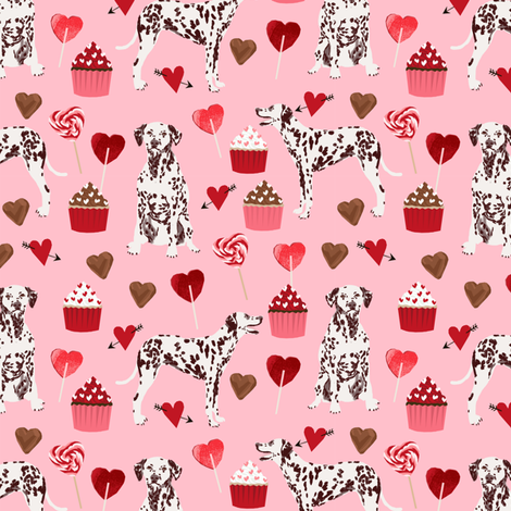 dalmatian - liver spotted dalmatian fabric valentines design fabric by petfriendly on Spoonflower - custom fabric