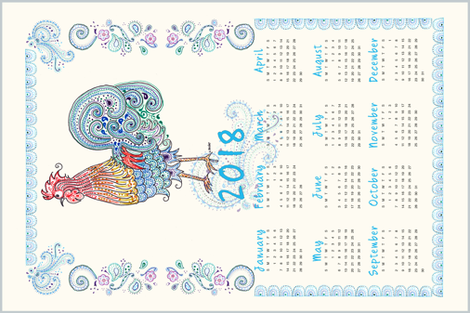 Rooster Tea Towel Calendar 2018 fabric by dreamoutloudart on Spoonflower - custom fabric