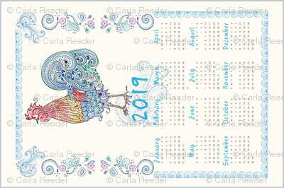 Rooster Tea Towel Calendar 2019