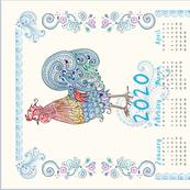 Rooster Tea Towel Calendar 2020