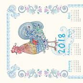 Rooster Tea Towel Calendar 2018