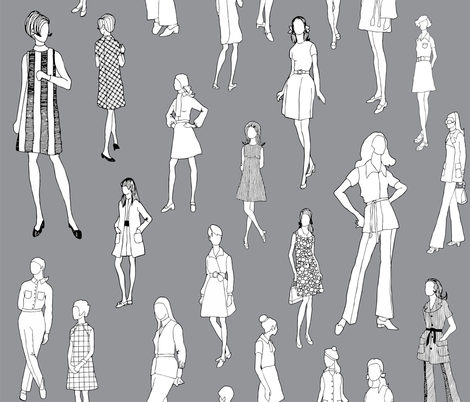 1960's Fashion - Mod Girls of the '60s | Dark Grey fabric by magnoliacollection on Spoonflower - custom fabric