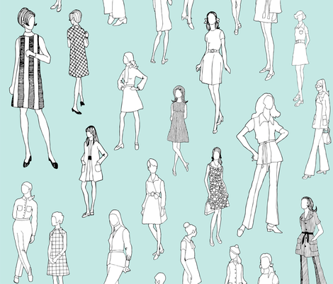 1960's Fashion - Mod Girls of the '60s | Light Blue fabric by magnoliacollection on Spoonflower - custom fabric