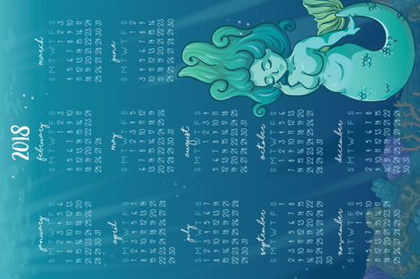 2018 Calendar - Mermaid fabric by electrogiraffe on Spoonflower - custom fabric