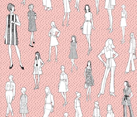 1960's Fashion - Mod Girls of the '60s - Pink Dot fabric by magnoliacollection on Spoonflower - custom fabric
