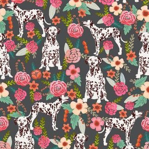liver spotted dalmatian florals fabric - charcoal