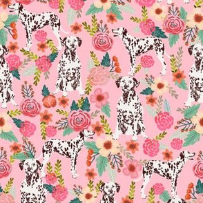 liver spotted dalmatian florals fabric - pink