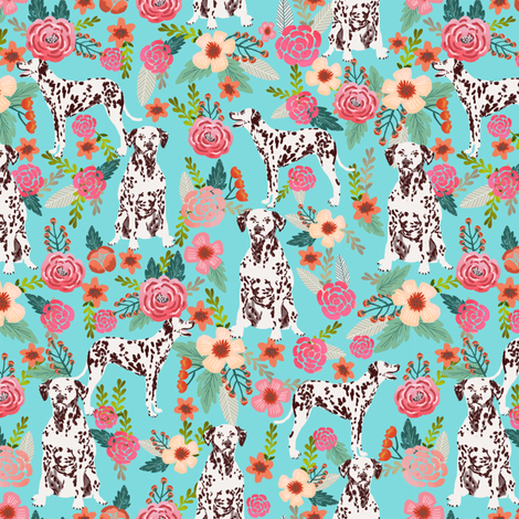 liver spotted dalmatian florals fabric - blue fabric by petfriendly on Spoonflower - custom fabric