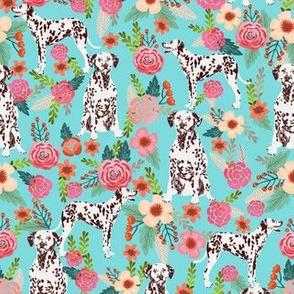liver spotted dalmatian florals fabric - blue