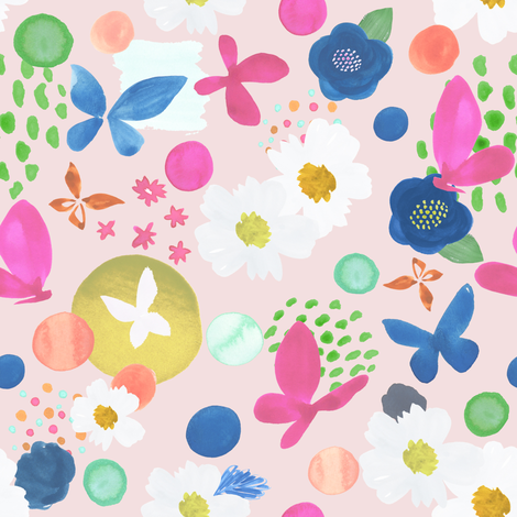 Abstract Painterly Late Summer at Dusk fabric by michellegracedesign on Spoonflower - custom fabric