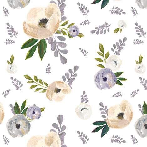 "7"" Cold Winter Florals fabric by shopcabin on Spoonflower - custom fabric"