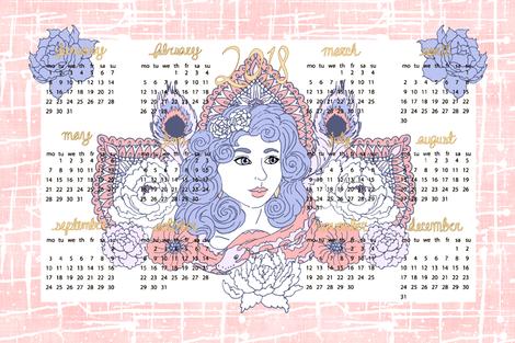 2018 Tea Towel Calendar fabric by pond_ripple on Spoonflower - custom fabric