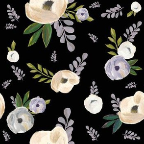 "7"" Cold Winter Florals - Black"