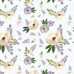 "4"" Cold Winter Florals - Blue Stripes"