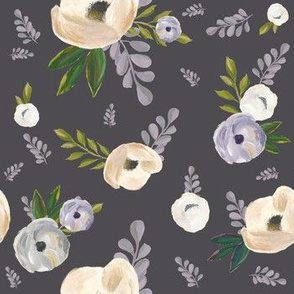 "7"" Cold Winter Florals - Dark Grey"