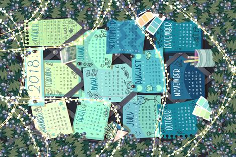 2018 Inspiration Board Calendar fabric by hollybender on Spoonflower - custom fabric