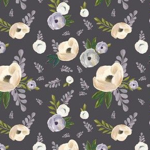 "4"" Cold Winter Florals - Dark Grey"