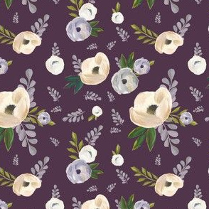 "4"" Cold Winter Florals - Eggplant"