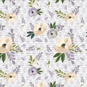 "4"" Cold Winter Florals - Lilac Stripes"
