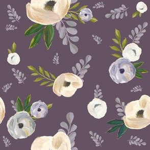 "7"" Cold Winter Florals - Winter Purple"