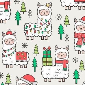 Holidays Christmas llamas on Cloud Grey