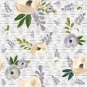 "7"" Cold Winter Florals - Light Grey Stripes"