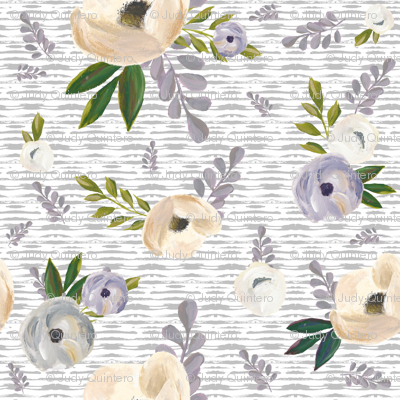 "4"" Cold Winter Florals - Light Grey Stripes"