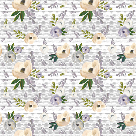 """4"""" Cold Winter Florals - Light Grey Stripes fabric by shopcabin on Spoonflower - custom fabric"""
