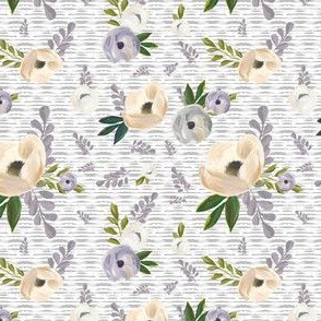 "4"" Cold Winter Florals - Light Grey Stripes"