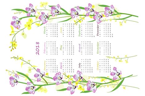 2018_tea_towel_calendar fabric by ecs-designs on Spoonflower - custom fabric