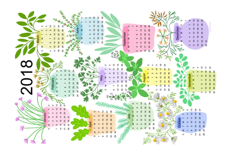 2018_HERB_CALENDAR fabric by nadinewestcott on Spoonflower - custom fabric