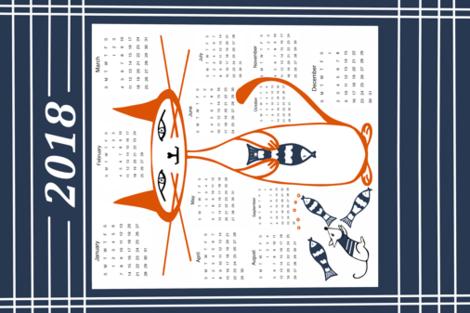 Katze_Calendar_2018 fabric by sewindigo on Spoonflower - custom fabric