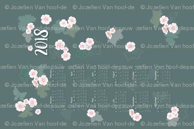 Geraniums calendar tea towel 2018