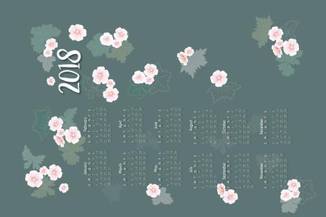 Geraniums calendar tea towel 2018 fabric by ellila on Spoonflower - custom fabric
