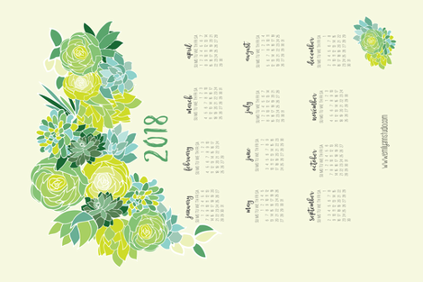 2018 Succulent Tea Towel Calendar fabric by emilyannstudio on Spoonflower - custom fabric