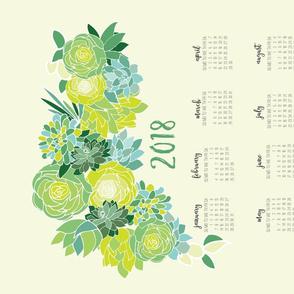 2018 Succulent Tea Towel Calendar