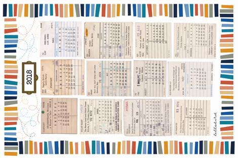 Library Tea Towel Calendar 2018 fabric by jenimp on Spoonflower - custom fabric