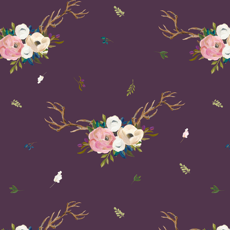 "7"" Sweet Friends Antlers with Florals - Eggplant fabric by shopcabin on Spoonflower - custom fabric"