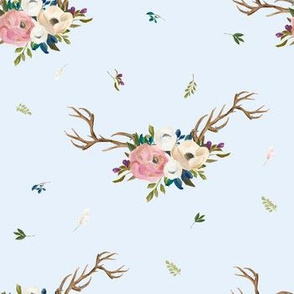 """7"""" Sweet Friends Antlers with Florals - Light Blue"""