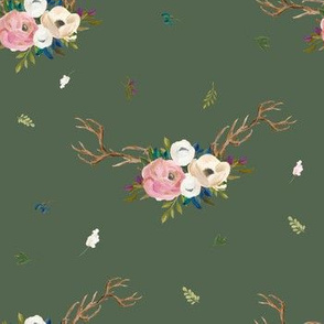 """7"""" Sweet Friends Antlers with Florals - Olive"""