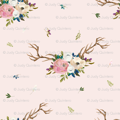 """7"""" Sweet Friends Antlers with Florals - Pink"""
