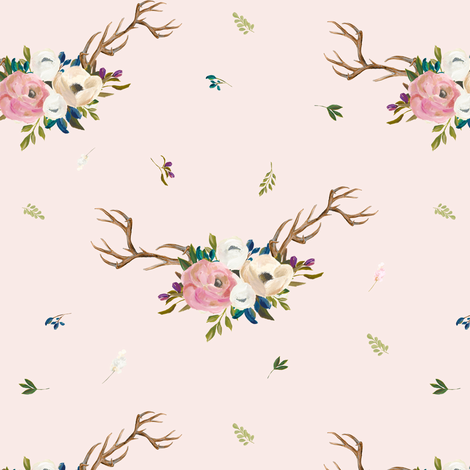 """7"""" Sweet Friends Antlers with Florals - Pink fabric by shopcabin on Spoonflower - custom fabric"""
