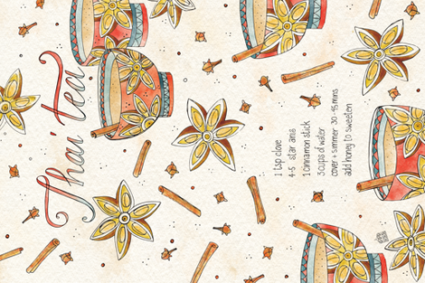 Thai Tea - © Lucinda Wei fabric by lucindawei on Spoonflower - custom fabric
