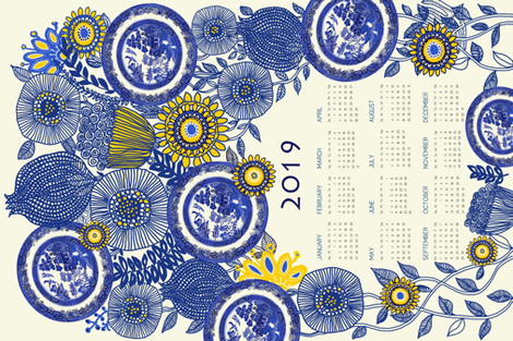 2019 Vintage Blue Willow Calendar fabric by honoluludesign on Spoonflower - custom fabric