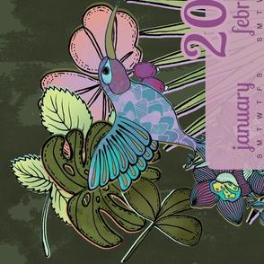 Hummingbird Garden Tea Towel Calendar 2018